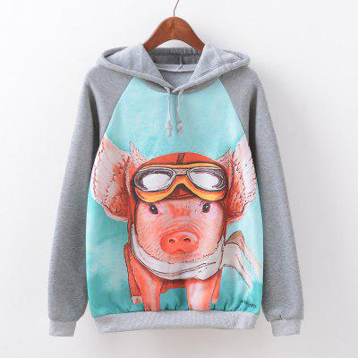 New Fashion Autumn and Winter Women Girl Ladies Long Sleeve Graphic Digital Printed Sportwear Loose Hooded Hoodies Casual Sport Pullover Sweatshirt Outerwear Blouse Tops ZT-G594 Pig Printing