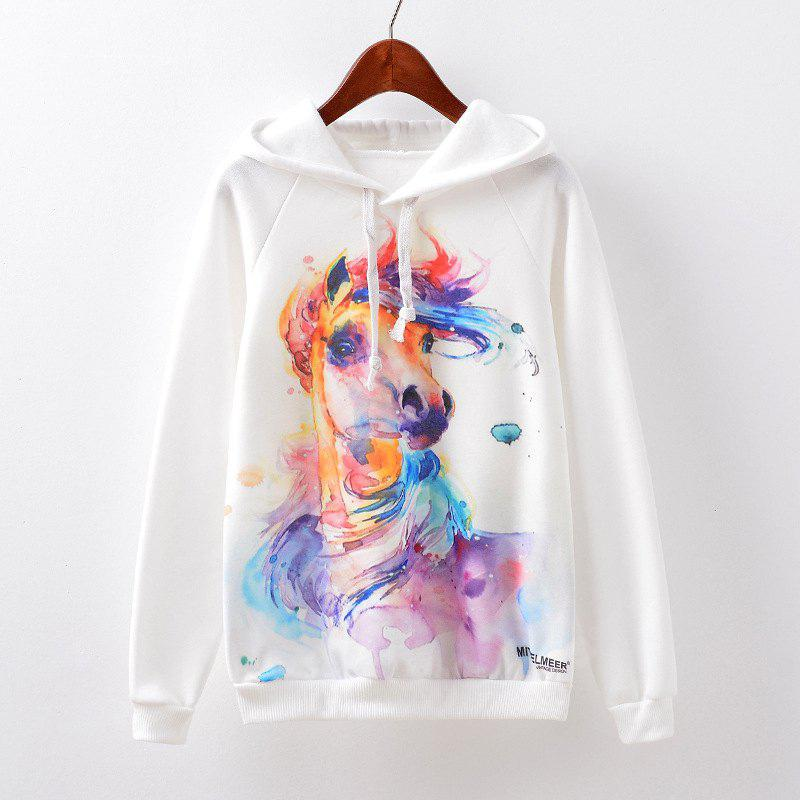 New Fashion Autumn and Winter Women Girl Ladies Long Sleeve Graphic Digital Printed Sportwear Loose Hooded Hoodies Casual Sport Pullover Sweatshirt Outerwear Blouse Tops ZT-G536 Horse Printing