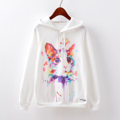 Buy WHITE S New Fashion Autumn and Winter Women Girl Ladies Long Sleeve Graphic Digital Printed Sportwear Loose Hooded Hoodies Casual Sport Pullover Sweatshirt Outerwear Blouse Tops ZT-G514 Cat Printing for $20.20 in GearBest store