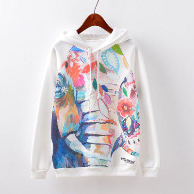 New Fashion Autumn and Winter Women Girl Ladies Long Sleeve Graphic Digital Printed Sportwear Loose Hooded Hoodies Casual Sport Pullover Sweatshirt Outerwear Blouse Tops ZT-G524 Oil painting Printing