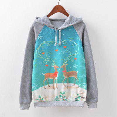 New Fashion Autumn and Winter Women Girl Ladies Long Sleeve Graphic Digital Printed Sportwear Loose Hooded Hoodies Casual Sport Pullover Sweatshirt Outerwear Blouse Tops ZT-G512 Heart Printing