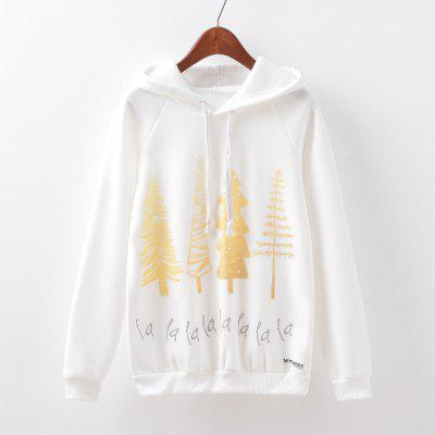 New Fashion Autumn and Winter Women Girl Ladies Long Sleeve Graphic Digital Printed Sportwear Loose Hooded Hoodies Casual Sport Pullover Sweatshirt Outerwear Blouse Tops ZT-G525 Gold leaf Printing