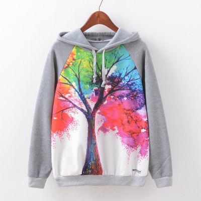 New Fashion Autumn and Winter Women Girl Ladies Long Sleeve Graphic Digital Printed Sportwear Loose Hooded Hoodies Casual Sport Pullover Sweatshirt Outerwear Blouse Tops ZT-G597 Tree Printing