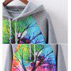 New Fashion Autumn and Winter Women Girl Ladies Long Sleeve Graphic Digital Printed Sportwear Loose Hooded Hoodies Casual Sport Pullover Sweatshirt Outerwear Blouse Tops ZT-G597 Tree Printing - CINZA