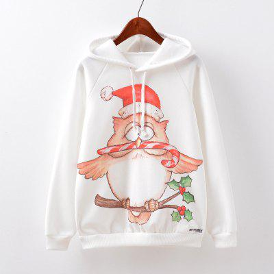 New Fashion Autumn and Winter Women Girl Ladies Long Sleeve Graphic Digital Printed Sportwear Loose Hooded Hoodies Casual Sport Pullover Sweatshirt Outerwear Blouse Tops ZT-G534 Christmas hat Printing