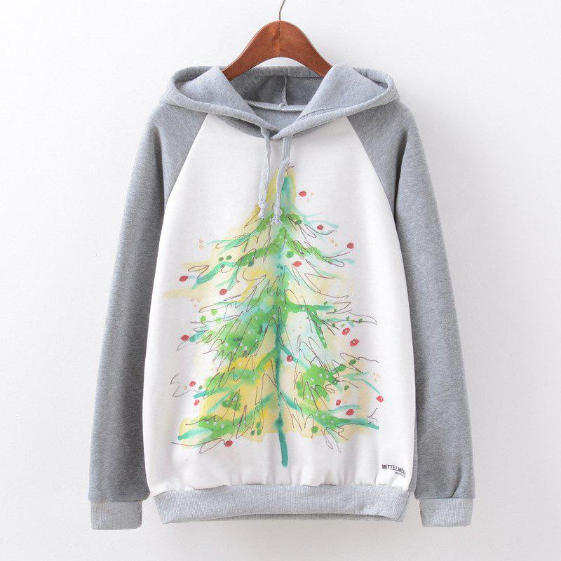 New Fashion Autumn and Winter Women Girl Ladies Long Sleeve Graphic Digital Printed Sportwear Loose Hooded Hoodies Casual Sport Pullover Sweatshirt Outerwear Blouse Tops ZT-G596 Christmas tree Printin