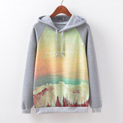 New Fashion Autumn and Winter Women Girl Ladies Long Sleeve Graphic Digital Printed Sportwear Loose Hooded Hoodies Casual Sport Pullover Sweatshirt Outerwear Blouse Tops ZT-G516 Sky Printing