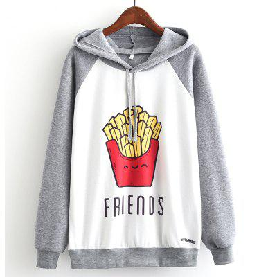 New Arrivals Autumn Winter Women Fashion Long Sleeve Sweatshirt Harajuku Chips French Fries Print Hooded Hoodies Ladies Letters Friends Tracksuit Jumper Pullover Sweats Outwear Plus Size