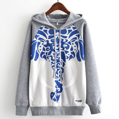 New Arrivals Autumn Winter Women Fashion Long Sleeve Sweatshirt Harajuku Blue and White Porcelain Elephant Print Hooded Hoodies Ladies Tracksuit Jumper Pullover Sweats Outwear Plus Size