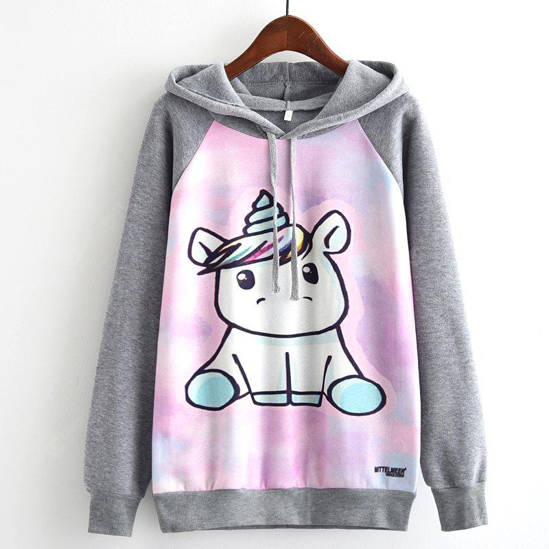 New Arrivals Autumn Winter Women Fashion Long Sleeve Sweatshirt Harajuku Cute Sheep Graphic Digital Galaxy Cartton Unicorn Print Hooded Hoodies Ladies Tracksuit Jumper Pullover Sweats Outwear Plus Siz