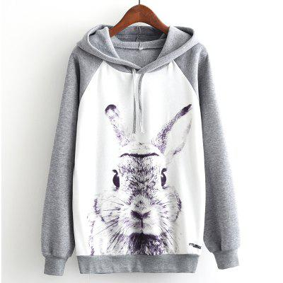 New Arrivals Autumn Winter Women Fashion Long Sleeve Sweatshirt Harajuku Digital Cartton Grey Rabbit Print Hooded Hoodies Ladies Tracksuit Jumper Pullover Sweats Outwear Plus Size