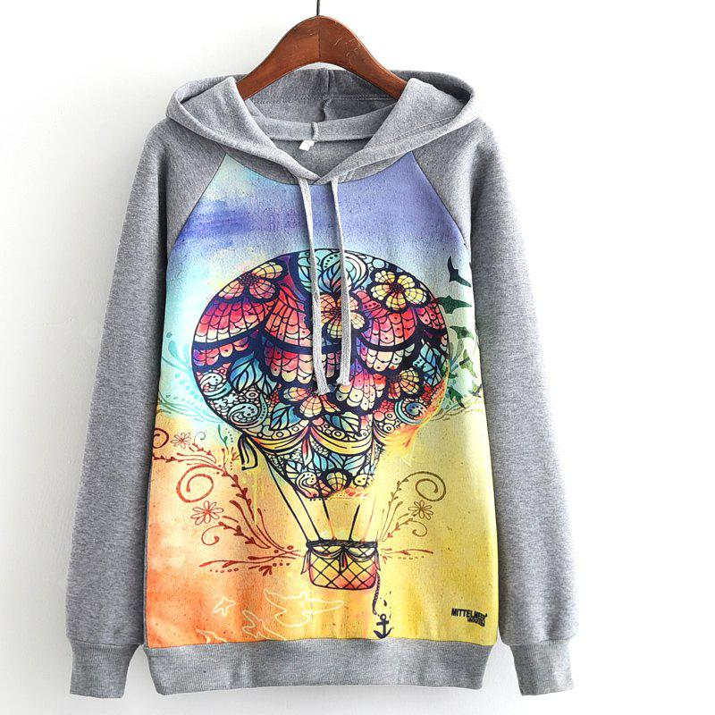 New Arrivals Autumn Winter Women Fashion Long Sleeve Sweatshirt Harajuku Digital Coloured Fire Balloon Print Hooded Hoodies Ladies Tracksuit Jumper Pullover Sweats Outwear Plus Size