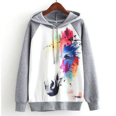 New Arrivals Autumn Winter Women Fashion Long Sleeve Sweatshirt Harajuku Digital Graffiti Coloured Horse Printed Hooded Hoodies Ladies Tracksuit Jumper Pullover Sweats Outwear Plus Size