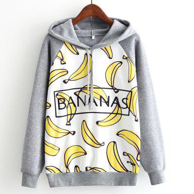 New Arrivals Autumn Winter Women Fashion Long Sleeve Sweatshirt Harajuku Digital Banana Letters Printed Hooded Hoodies Ladies Tracksuit Jumper Pullover Sweats Outwear Plus Size