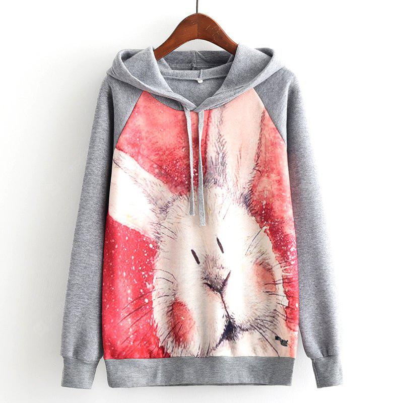 New Arrivals Autumn Winter Women Fashion Long Sleeve Sweatshirt Harajuku Cute Rabbit Digital Printed Hooded Hoodies Ladies Tracksuit Jumper Pullover Sweats Outwear Plus Size