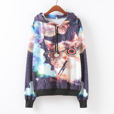 New Fashion Autumn and Winter Women Girl Ladies Long Sleeve Graphic Digital Printed Pocket Sportwear Loose Hooded Hoodies Casual Hip Hop Sport Pullover Sweatshirt Outerwear Blouse Tops ZT-G652 Smoking