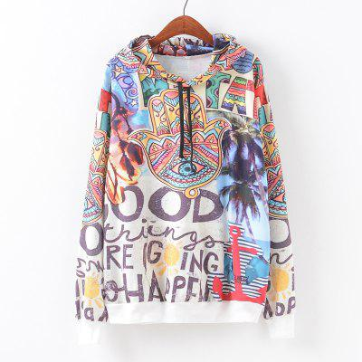 New Fashion Autumn and Winter Women Girl Ladies Long Sleeve Graphic Digital Printed Pocket Sportwear Loose Hooded Hoodies Casual Hip Hop Sport Pullover Sweatshirt Outerwear Blouse Tops ZT-G656 Graffit