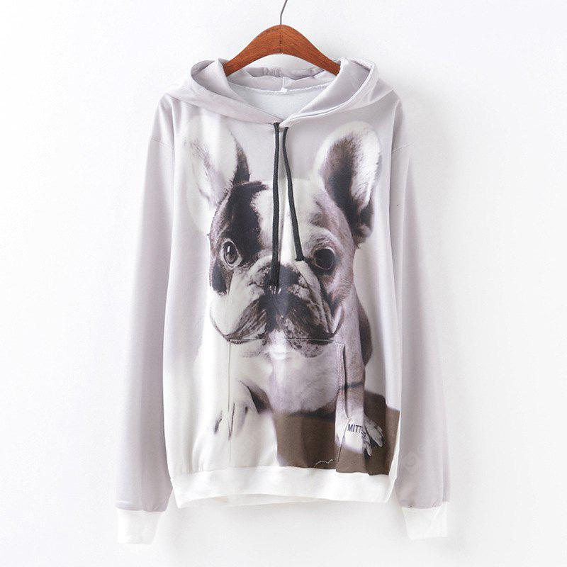 New Fashion Autumn and Winter Women Girl Ladies Long Sleeve Graphic Digital Printed Pocket Sportwear Loose Hooded Hoodies Casual Hip Hop Sport Pullover Sweatshirt Outerwear Blouse Tops ZT-G658 Dog Pri