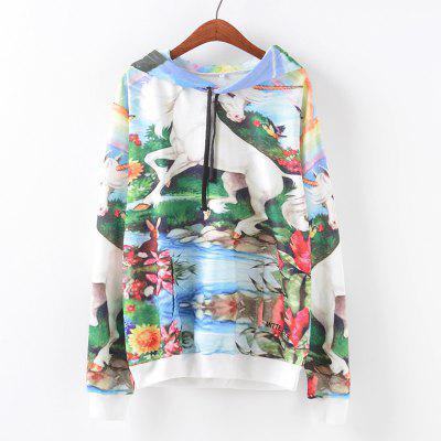 New Fashion Autumn and Winter Women Girl Ladies Long Sleeve Graphic Digital Printed Pocket Sportwear Loose Hooded Hoodies Casual Hip Hop Sport Pullover Sweatshirt Outerwear Blouse Tops ZT-G659 Floral
