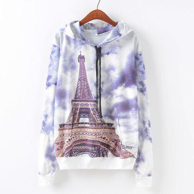 New Fashion Autumn and Winter Women Girl Ladies Long Sleeve Graphic Digital Printed Pocket Sportwear Loose Hooded Hoodies Casual Hip Hop Sport Pullover Sweatshirt Outerwear Blouse Tops ZT-G660 Eiffel
