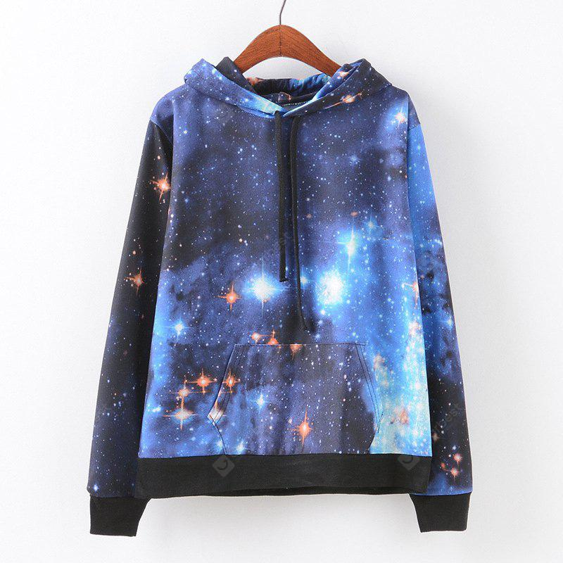New Fashion Autumn and Winter Women Girl Ladies Long Sleeve Graphic Digital Printed Pocket Sportwear Loose Hooded Hoodies Casual Hip Hop Sport Pullover Sweatshirt Outerwear Blouse Tops ZT-G661 Starry
