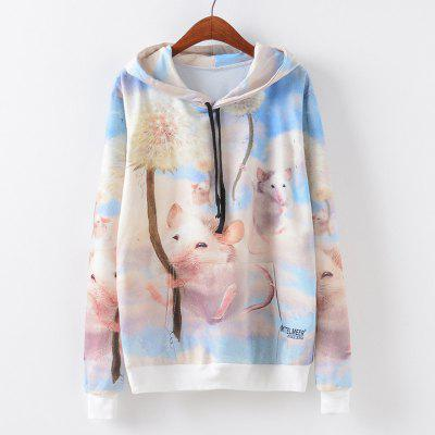 New Fashion Autumn and Winter Women Girl Ladies Long Sleeve Graphic Digital Printed Pocket Sportwear Loose Hooded Hoodies Casual Hip Hop Sport Pullover Sweatshirt Outerwear Blouse Tops ZT-G662 Mouse P