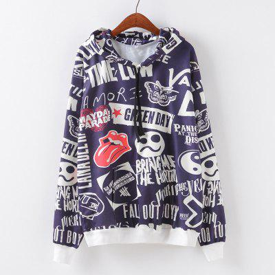 Buy AS THE PICTURE S New Fashion Autumn and Winter Women Girl Ladies Long Sleeve Graphic Digital Printed Pocket Sportwear Loose Hooded Hoodies Casual Hip Hop Sport Pullover Sweatshirt Outerwear Blouse Tops ZT-G664 Letters for $23.38 in GearBest store