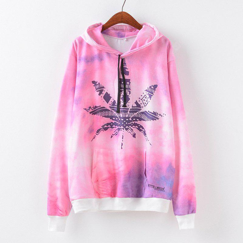 New Fashion Autumn and Winter Women Girl Ladies Long Sleeve Graphic Digital Printed Pocket Sportwear Loose Hooded Hoodies Casual Hip Hop Sport Pullover Sweatshirt Outerwear Blouse Tops ZT-G646 Maple l
