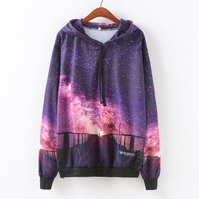 New Fashion Autumn and Winter Women Girl Ladies Long Sleeve Graphic Digital Printed Pocket Sportwear Loose Hooded Hoodies Casual Hip Hop Sport Pullover Sweatshirt Outerwear Blouse Tops ZT-G650 Starry