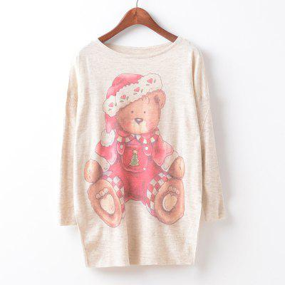 New Fashion Autumn Winter Women Girls Crewneck Batwing Sleeve Knitted Graphic Digital Printing Sweater Jumper Warm Kintwear Loose Casual Tops Pullovers ZT-G625 Bear Printing