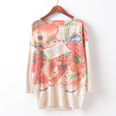 New Fashion Autumn Winter Women Girls Crewneck Batwing Sleeve Knitted Graphic Digital Printing Sweater Jumper Warm Kintwear Loose Casual Tops Pullovers ZT-G626 Deer Printing