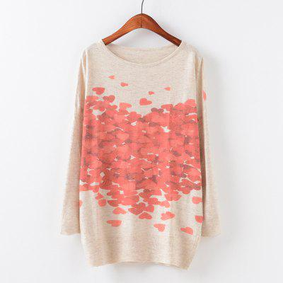 New Fashion Autumn Winter Women Girls Crewneck Batwing Sleeve Knitted Graphic Digital Printing Sweater Jumper Warm Kintwear Loose Casual Tops Pullovers ZT-G627 Heart Printing