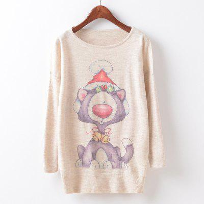 New Fashion Autumn Winter Women Girls Crewneck Batwing Sleeve Knitted Graphic Digital Printing Sweater Jumper Warm Kintwear Loose Casual Tops Pullovers ZT-G628 Christmas hat Printing