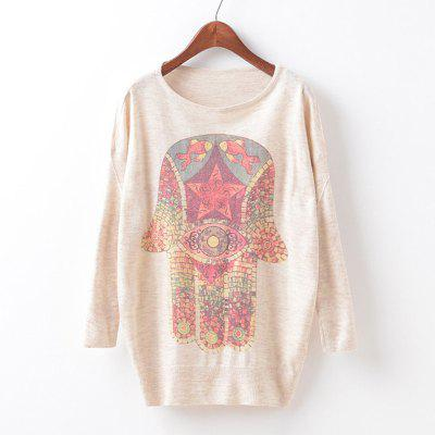 New Fashion Autumn Winter Women Girls Crewneck Batwing Sleeve Knitted Graphic Digital Printing Sweater Jumper Warm Kintwear Loose Casual Tops Pullovers ZT-G629 Hand Printing