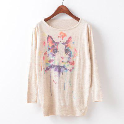 New Fashion Autumn Winter Women Girls Crewneck Batwing Sleeve Knitted Graphic Digital Printing Sweater Jumper Warm Kintwear Loose Casual Tops Pullovers ZT-G632 Cat Printing