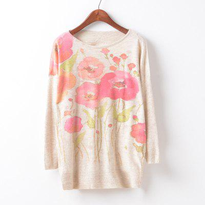 New Fashion Autumn Winter Women Girls Crewneck Batwing Sleeve Knitted Graphic Digital Printing Sweater Jumper Warm Kintwear Loose Casual Tops Pullovers ZT-G633 Floral Printing