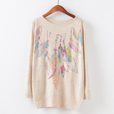 New Fashion Autumn Winter Women Girls Crewneck Batwing Sleeve Knitted Graphic Digital Printing Sweater Jumper Warm Kintwear Loose Casual Tops Pullovers ZT-G634 Feather Printing