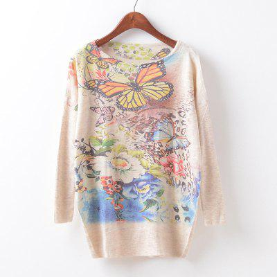 New Fashion Autumn Winter Women Girls Crewneck Batwing Sleeve Knitted Graphic Digital Printing Sweater Jumper Warm Kintwear Loose Casual Tops Pullovers ZT-G637 Floral Printing