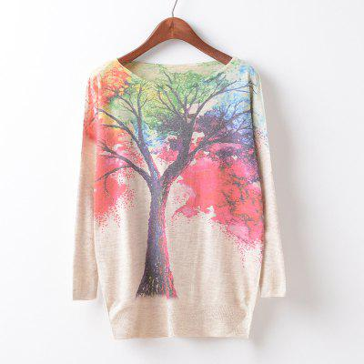 New Fashion Autumn Winter Women Girls Crewneck Batwing Sleeve Knitted Graphic Digital Printing Sweater Jumper Warm Kintwear Loose Casual Tops Pullovers ZT-G638 Tree Printing