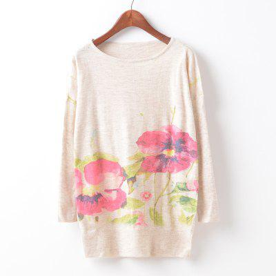 New Fashion Autumn Winter Women Girls Crewneck Batwing Sleeve Knitted Graphic Digital Printing Sweater Jumper Warm Kintwear Loose Casual Tops Pullovers ZT-G639 Floral Printing