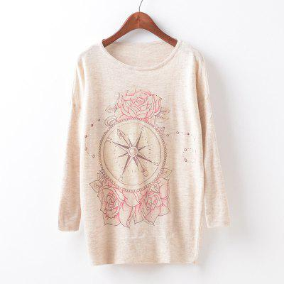 New Fashion Autumn Winter Women Girls Crewneck Batwing Sleeve Knitted Graphic Digital Printing Sweater Jumper Warm Kintwear Loose Casual Tops Pullovers ZT-G640 Floral Printing