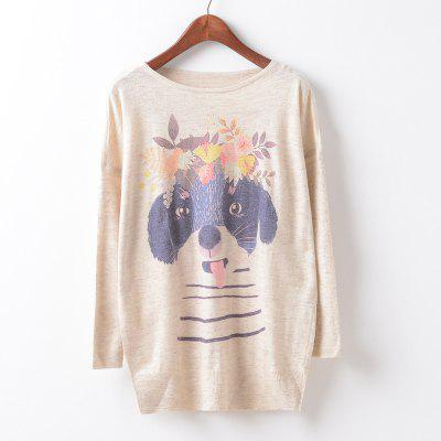 New Fashion Autumn Winter Women Girls Crewneck Batwing Sleeve Knitted Graphic Digital Printing Sweater Jumper Warm Kintwear Loose Casual Tops Pullovers ZT-G641 Floral Printing