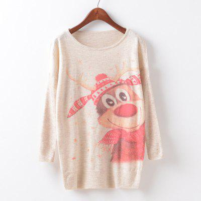 New Fashion Autumn Winter Women Girls Crewneck Batwing Sleeve Knitted Graphic Digital Printing Sweater Jumper Warm Kintwear Loose Casual Tops Pullovers ZT-G643 Christmas deer Printing