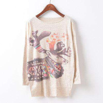 New Fashion Autumn Winter Women Girls Crewneck Batwing Sleeve Knitted Graphic Digital Printing Sweater Jumper Warm Kintwear Loose Casual Tops Pullovers ZT-G614 Deer Printing