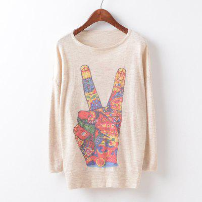 New Fashion Autumn Winter Women Girls Crewneck Batwing Sleeve Knitted Graphic Digital Printing Sweater Jumper Warm Kintwear Loose Casual Tops Pullovers ZT-G615 Victory v-sign Printing