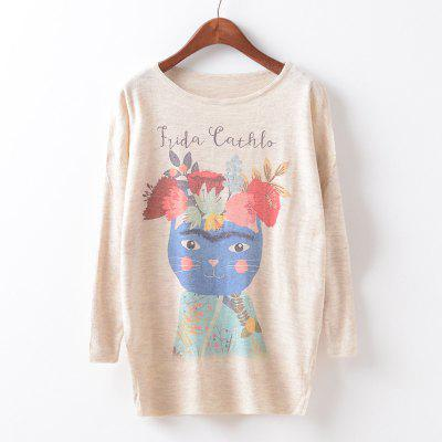 New Fashion Autumn Winter Women Girls Crewneck Batwing Sleeve Knitted Graphic Digital Printing Sweater Jumper Warm Kintwear Loose Casual Tops Pullovers ZT-G616 Floral Printing