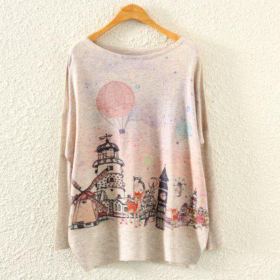 Autumn New Fashion Women Blouse Digital Printed Round Collar Sweater European Batwig Sleeve Tops Sweatshirt Big Size Woman Pullovers Loose Tops Tees