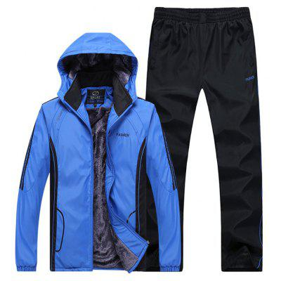 Autumn and Winter Plus Velvet Men'S Sportswear Suit Thick Warm Casual Outdoor Windbreaker