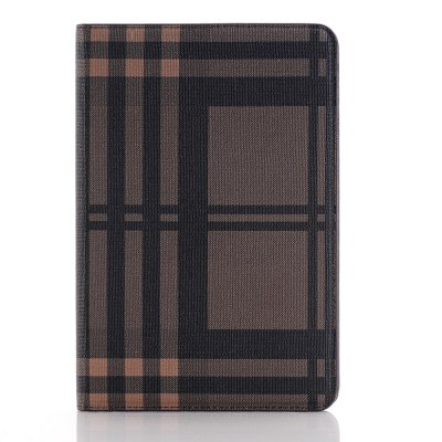 Fashion Grid Plaid Skin Luxo Tablet PC Back Case para iPad Air2 iPad 6 Smart Cover Wallet PU Leather Case