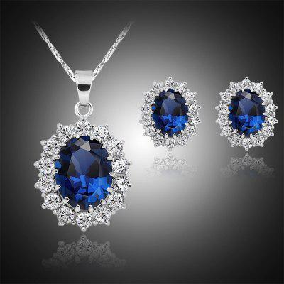 Fashion Silver Filled Blue Sapphire Crystal Christmas Jewelry Sets Snowflake Necklace EarringsJewelry Sets<br>Fashion Silver Filled Blue Sapphire Crystal Christmas Jewelry Sets Snowflake Necklace Earrings<br>